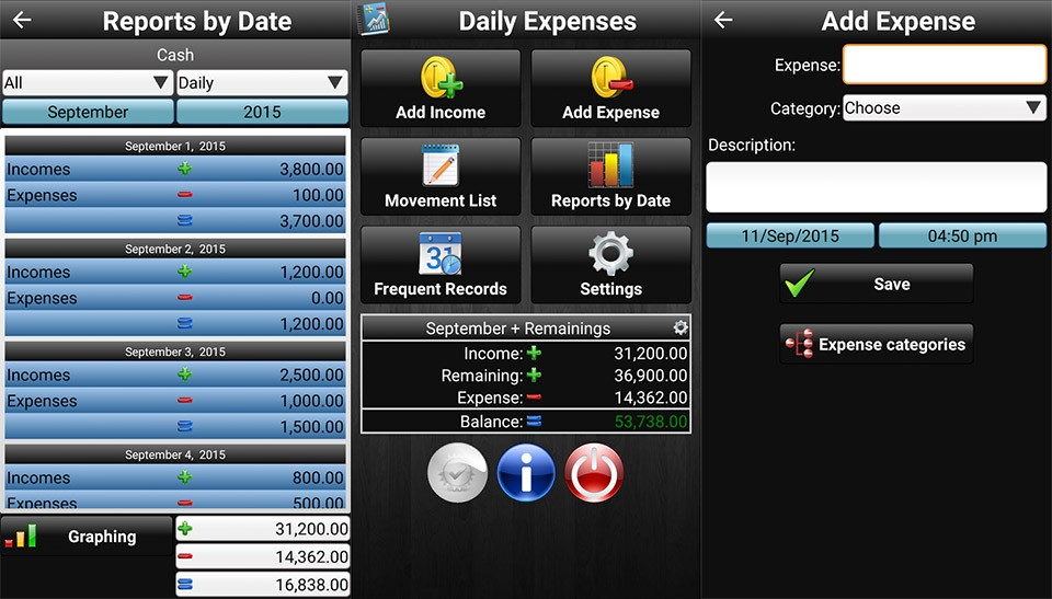 Tampilan aplikasi Daily Expenses